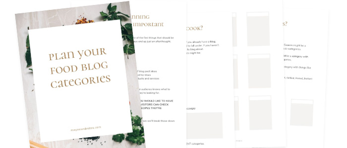 image of printable food blog category planner